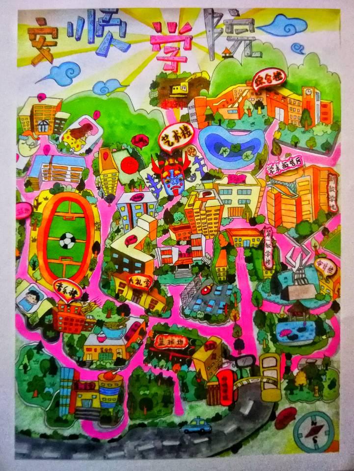 """最美校园""""2018届手绘地图大赛活动要求,在全校范围内广泛征集参赛作品"""